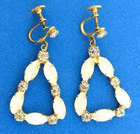 Vintage Selenite Glass Cats Eye Drop Dangle Earrings Screwback