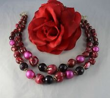 Vintage 2 Strand Rasberry Pink Beaded Necklace Cat Rescue