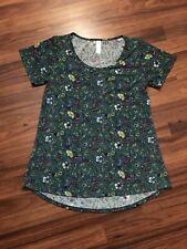 LuLaRoe Perfect T Tee Shirt Tunic XSmall Floral Green Pink Short Sleeve Knit Top