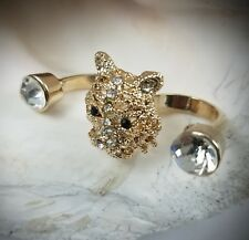 Double Finger Ring Tiger Cup White Crystal Size Adjusatble