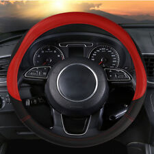 US 15''/38cm Car Microfiber Leather Steering Wheel Cover Anti-Slip Soft Grap Set