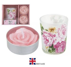 3PC VOTIVE TEA LIGHT CANDLES HOLDER GIFT SET Mothers Day Mum Candle PM734074 UK