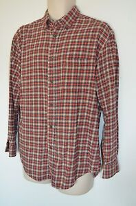 Consensus Mens M Red Tan Plaid Outdoor Camp Hiking Work Sport Flannel Shirt