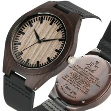Fashion Engraved Wood Watch for Family Lovers Valentine's Gift to Men Women