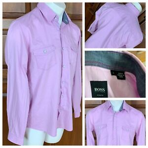 Hugo Boss Men's Purple Slim Fit Herringbone Pattern Dress Shirt Size Large
