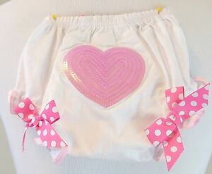 Mud Pie Heart Sequin Pink Ribbon Diaper Cover Bloomers 0-6 Months
