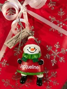 Ganz Jolly Jingles Snowman Christmas Ornament - Personalized JACQUELINE