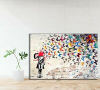 Banksy Headshot Butterflies Printed Canvas Picture Home Decor Graffiti Art