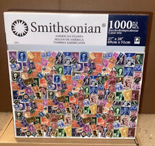 """Smithsonian 1000 Piece Puzzle American Stamps. New In Box. 27""""X20"""""""