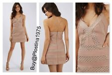 NWT  Topshop  Mesh Gold Studded Halter A-line Cocktail [Size :6 ] #B233
