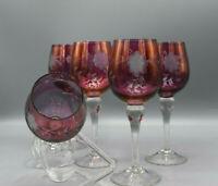 Vintage Weingläser rosafarben mit Blumenmusterschliff 5 Stück DDR