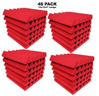 "48 Pack RED Acoustic Wedge Studio Soundproofing Foam Wall Tiles 12x12x 2"" inch"