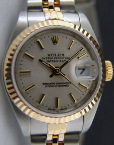 ROLEX Ladies 18kt Gold & Stainless DateJust Silver Stick 79173 SANT BLANC