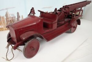 """Vintage 1920's Buddy L 40"""" Long Aerial Ladder Fire Truck With 48"""" Ladder"""
