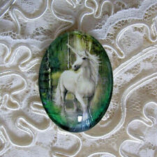 Beautiful Unicorn 30X40mm Glitter Unset Handmade Glass Art Bubble Cameo Cabochon