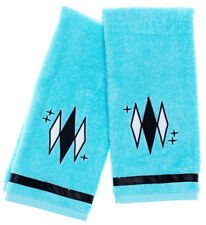 Sourpuss Diamonds Bathroom Retro Turquoise Cotton Hand Towel Set SPHW161