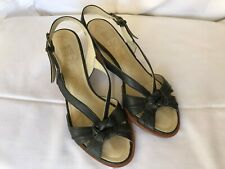 WOMENS CLARKS SIZE 3.5 BLACK STRAPPY WDEDGE SANDALS active air