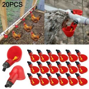 20 Pack Poultry Water Drinking Cups Chicken Hen Automatic Drinker Plastic Feeder
