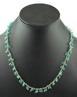 Blue Topaz Hydro Dangle Necklace Wire Wrapped Rosary Beaded Link Chain Jewelry