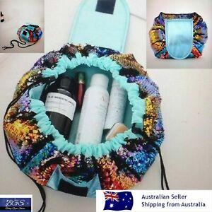 Bling Sequin Makeup Organizer Drawstring Travel Waterproof Easy Access Bag