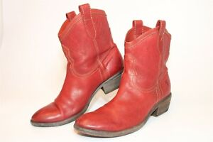 Frye 77031 Carson Shortie Womens 8 B Red Leather Cowboy Western Ankle Boots