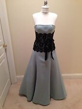 Jessica McClintock Robin's Egg with Black Lace Strapless Dress Size 8