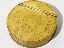 Antique Georgian Engraved Bust Portrait of Sir Walter Raleigh Brass Snuff BOX