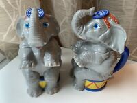 2 RINGLING BROS CIRCUS Greatest Show On Earth Elephant Cup Flip Top Lid Lot Of 2