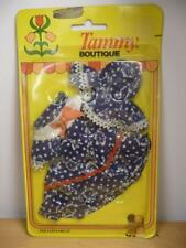 Vtg Nos Tammy Boutique Mini Dolls Clothes Blue Dress White Flowers & Hat 9272-6