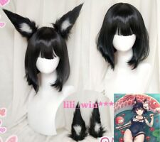 Game Azur Lane IJN Yamashiro Short Black Plush Ears Cosplay Party Wig Hair