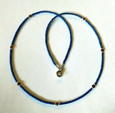 Afghan Natural Lapis Lazuli with Garnet Tiny Seed Beads Necklace Ethnic Handmade