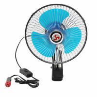 """Portable 12V 8"""" Car Dashboard Cooling Fan With Clip Cigarette Lighter Plug UK"""