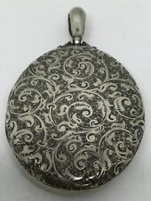 Large Victorian Silver Locket - Ornate Front (S97)