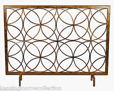 "FIREPLACE SCREENS - ""CHATSWORTH"" DECORATIVE FIRE SCREEN - ANTIQUE GOLD - CIRCLES"