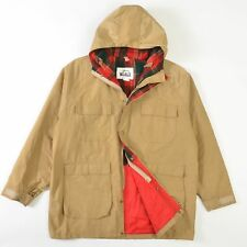 VTG Woolrich Parka Coat Jacket Wool Lined Nylon Shell USA Beige Mens XL