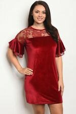 Women's Plus Size Burgundy Red Velvet and Lace Plus Size Cocktail Dress 3X NWT