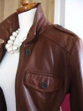 Ladies LIMITED COLLECTION M&S real leather tan JACKET size UK 8 10 biker S/M
