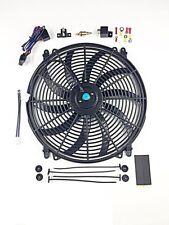 "16"" Electric Curved Blade Reversible Cooling Fan 12v 3000cfm+ Thermostat Kit"