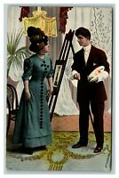 Vintage 1907 Postcard Portrait Painter and Woman in Nice Blue Dress & Hat