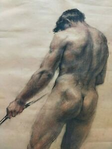 19th c FRENCH school ACADEMIC drawing of a 'MALE NUDE' c1890 - EXCELLENT QUALITY