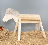 Holzpferd, bewgl. Kopf, ca.115 cm, unbehandelt, Mähne braun-meliert