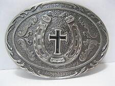 Belt Buckle #166 - HORSESHOE & CROSS - PEWTER