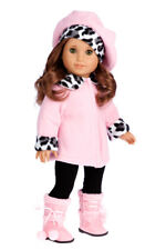 Elegance - Clothes for American Girl Doll, Pink Coat Hat Black Pants Sherpa Boot