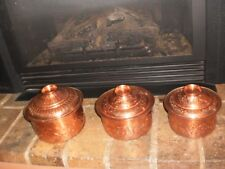 SET OF 3 VINTAGE DECORATIVE HAND BEATEN COPPER PLATED COOKING POTS