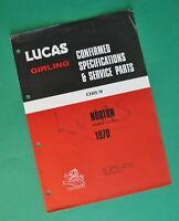 1970 Lucas Spare Part Norton Motorcycle Repair Manual Commando Fastback Roadster