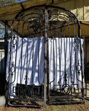 HUGE 11' tall Antique Black  Arched Iron Gate Doors Driveway Security Entryway