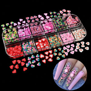 Heart Nail Sequins 3D Nail Decorations Polish Manicure DIY Resin Accessories UK