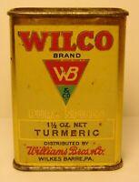 Vintage 1930s WILCO TURMERIC SPICE TIN LITHO SPICE TIN WILKES BARRE PENNSYLVANIA