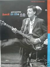 "PAUL McCARTNEY ""BACK IN THE USA LIVE 2002"" POSTER - Playing Hofner Bass, Beatles"