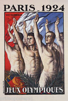 1924 PARIS VIII OLYMPIADE SUMMER OLYMPIC GAMES ATHLETES VINTAGE POSTER REPRO